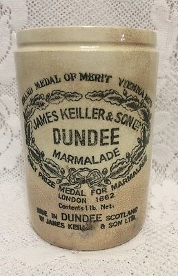 James Keiller & Son Dundee Marmalade Vintage Stoneware Jar Crock Made in England