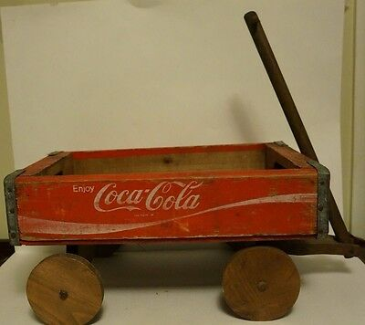 Vintage Coca Cola Wood Crate Wagon, Wooden Folk Art, Coke / Soda Advertising
