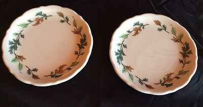 Syracuse China Restaurant Ware Bread Butter Plates (2) SY185R 5.5 Inch Leaves