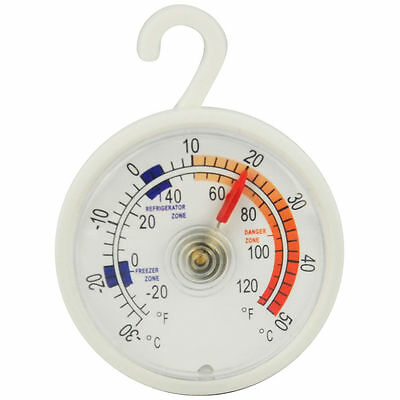 Kitchen Fridge Freezer Dial Thermometer Hanging Hook or Wall Mounted 30-50 Degre