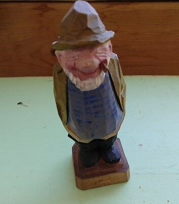 """Wood Carving of a Fisherman by Al Davidson Signed Davidson Canada about 6"""""""