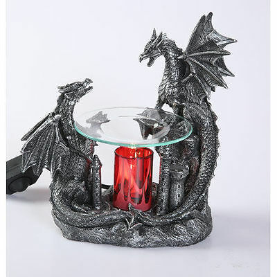 Black Double Dragon Burner Wax Tart Oil Candle Warmer Electric Polyresin NIB