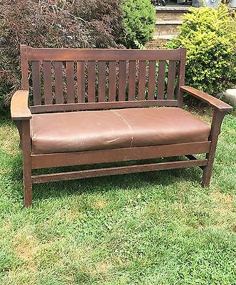 "Antique L & jG Stickley Drop Arm 54"" Mission A&C Settle Orig 1/4 Sawn Oak VGC"