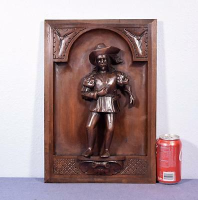 *French Antique Carved Panel in Walnut Wood with a Parisian Man with a Sword
