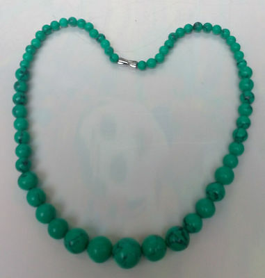 Rare Chinese natural turquoise hand-carved of necklace!Free transport!!!