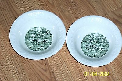 Homer Laughlin ( 2 )Pastoral Berry Bowls Green + White Plowing The Field Vgc