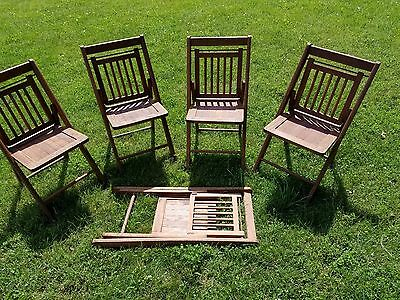 Vintage Antique Oak Wood Slat Set 5 Folding Children Chairs
