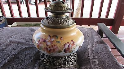 Beautiful Vintage 1800's F.g. Co. Large Parlor Oil Lamp W/ Dogwood Flowers #877