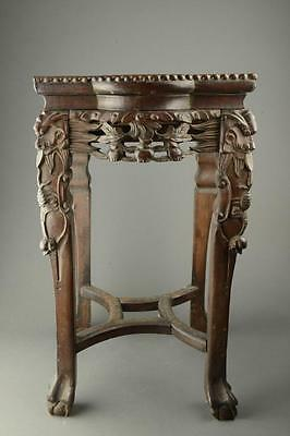 Chinese Rosewood Carved End Table with Marble Inset