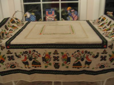 Beautiful Vintage Folk Art Danish Linen Tablecloth Cover With Bright Colors