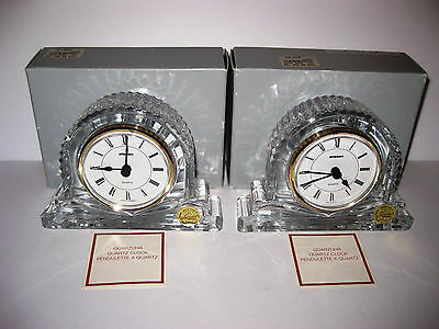 Staiger Cristal D'Arques PAIR OF CRYSTAL CLOCKS France Germany NEW IN BOXES Vtg