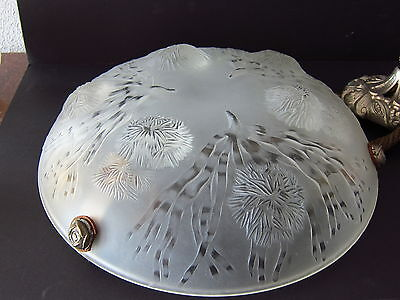 FRENCH ART DECO LAMP SABINO Modell Les Oursins Suspension Ceiling Light Signed