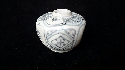 Antique Chinese Ming Dynasty Blue And White Porcelain Hexagon Jar Pot