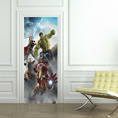 The Avengers DOOR WRAP Decal Wall Sticker Personalized ANY NAME Iron Man D03