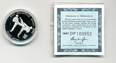 1987 Proof South Korea 5000 Won, Tae Kwon Do, 1/2 Oz Silver Coin - Km #67