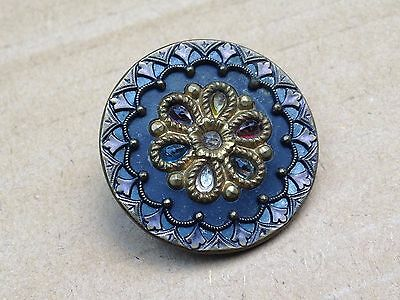Antique Victorian Metal Button With Mulit Color Paste Faceted Glass Jewels 32 Mm