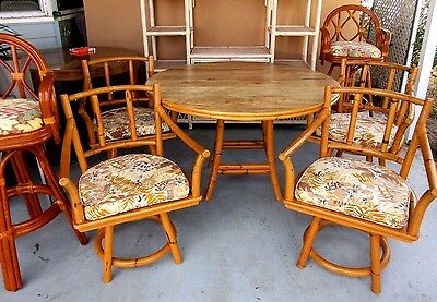 5 Pc Vtg Ficks Reed Mid Century Modern Rattan Bamboo Table & Chairs Dining Set