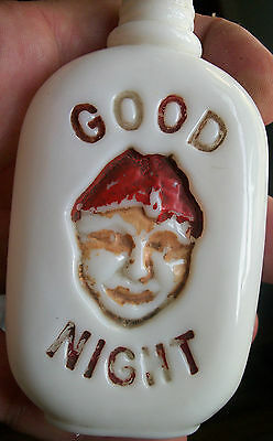 """***l@@k Awesome Milkglass Whiskey Nip Face Picture """"good Night"""" Original Paint"""