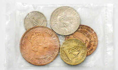 1955 British Caribbean Eastern Group 1 2 5 10 25 Cent 5 Coin Lot Sealed In Bag