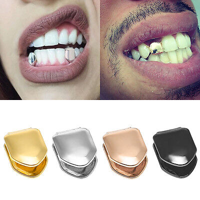 Gold/Silver Grill Tooth Plated Teeth Cap Grills Rapper Iced Out Bling Hip Hop