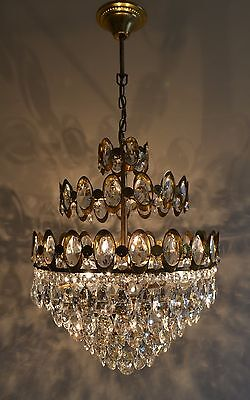 3 Tier French Basket Style Vintage Brass & Crystals Chandelier Antique Lamp