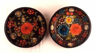 2 Hand Painted Carved Wood Bowls Wall Juarez Mexico Folk Art Flower Vtg Pair