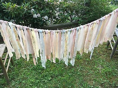 """Lace Rag Banner fabric garland nursery baby shower banner pink 55"""" by 22"""""""