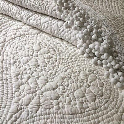 Unique Fabulous Antique FRENCH WHITEWORK WEDDING QUILT BOUTIS Hearts and Pompons