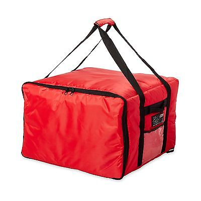 "Commercial Catering Insulated Delivery Bag Large Holds 4-16"" pizzas Red"