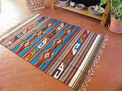 Zapotec Rug Mexican Teotitlan del Val 100% Wool Handwoven 4 ft x 6 ft Turquoise