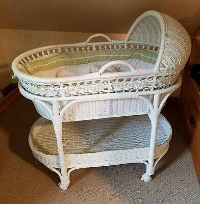 Pottery Barn Moses bassinet white with green neutral gingham bedding