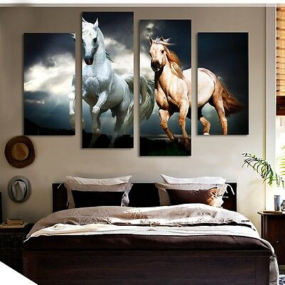 Modern Abstract Oil Painting Wall Decor Art Huge - 2 Running the horse 4pcs