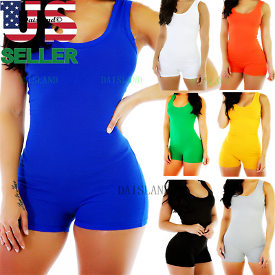 Women Lady Sleeveless Short Romper Jumpsuit Bodysuit Stretch Leotard Top Blouse