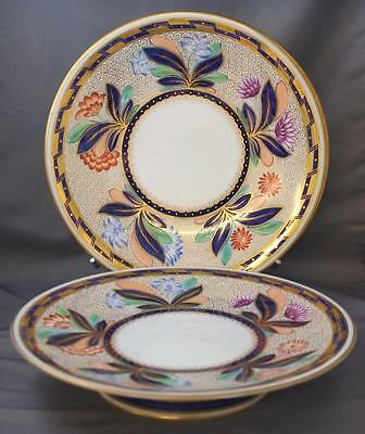 Antique Copeland England Imari Compote And 2 Plates 1870s Bone China Floral