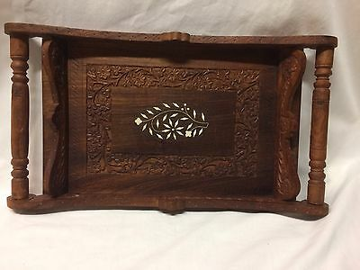 Vintage Carved Beautiful Teakwood Serving Tray With Inlaid Design
