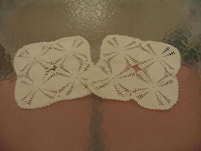 Nice Pair Of Vintage Off White Square Handmade Crochet Doilies Or Scarves