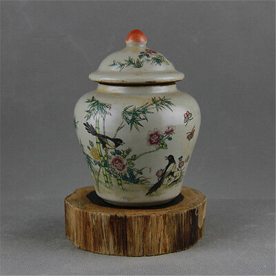 Chinese Asian Bird Floral Antique Porcelain Pot Decorated Old Jar with Lid #98