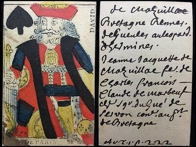 18th Century Authentic Playing Cards Single Colour Woodcut Document Use +COA