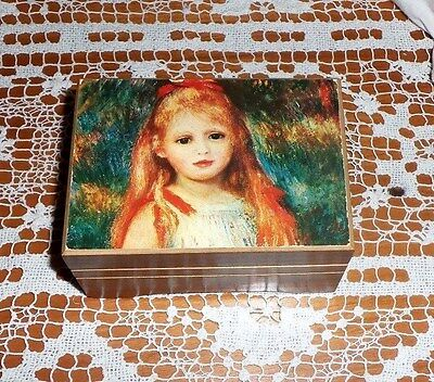 Vntg Wooden Reuge Music Box Plays Edelweiss Sweet Picture Of Little Girl On  Lid