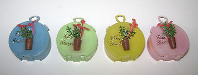 4 Vintage Plastic Rain Bonnets Hat In Round Suitcase Flowers Mini New Ord Ne