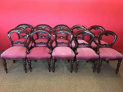 Set Of 10 Victorian Style Balloon Back Chairs Pro French Polished.