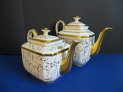 Antique Coffee or Tea Pot SET of TWO white porcelain gold design