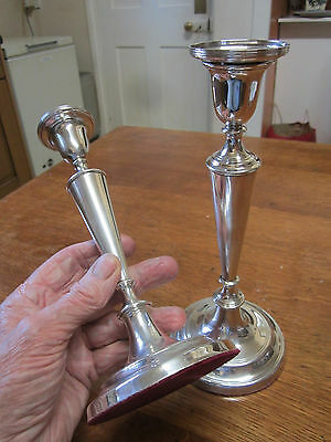 Old Pair Solid Silver Edwardian Style Hall Marked London c1978 Candlesticks