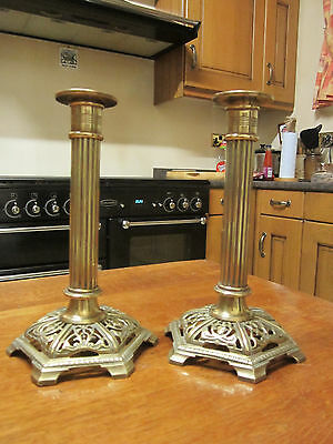 Old Pair Victorian Antique Brass Candlesticks Candleholders made England c1885