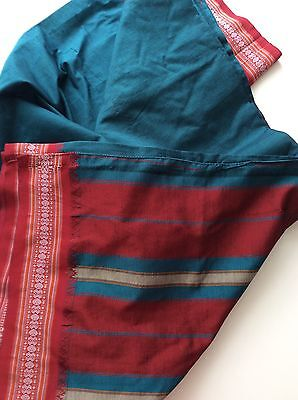 Gorgeous Indian Teal Blue Red Ikat Silky Sari Excellent Craft Fabric