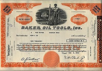 Baker Oil Tools Inc. Stock Certificate Orange Gas California