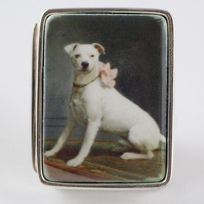 Enamel Antique Style Dog Pill Box 925 Sterling Silver Hallmarked