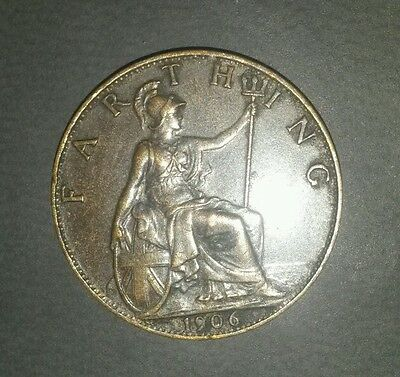 1906 British Edward VI Farthing - Good (429)