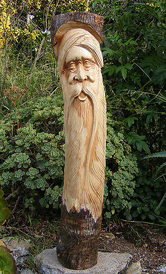 Green Man Wizard Statue Gnome Tree Spirit Wood Carving Wall Mask Wicca Decor 41""