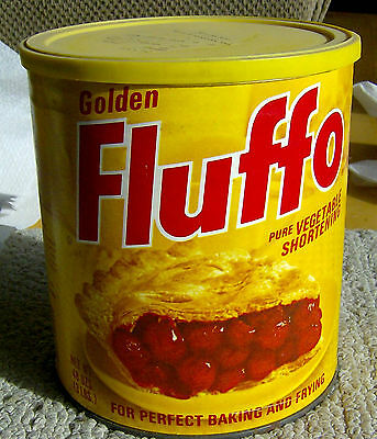 NEW OLD STOCK vintage 1973 FLUFFO Shortening can tin SEALED UNOPENED food RARE!